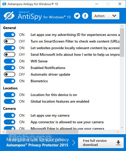 Ashampoo AntiSpy Screenshot
