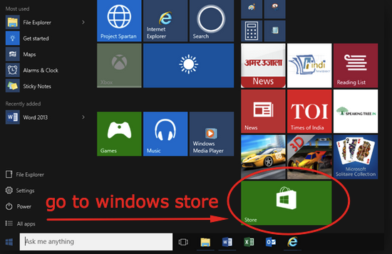 open windows store app