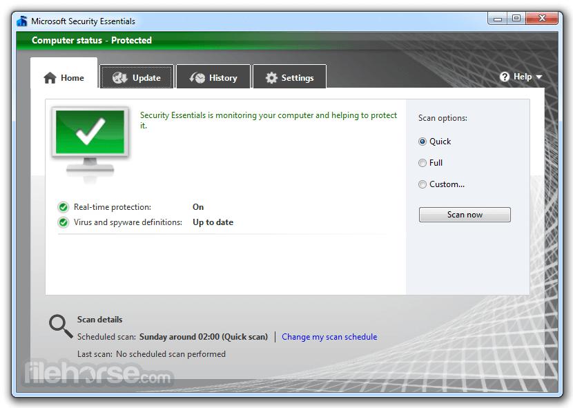 Microsoft Security Essentials (64-bit) Screenshot