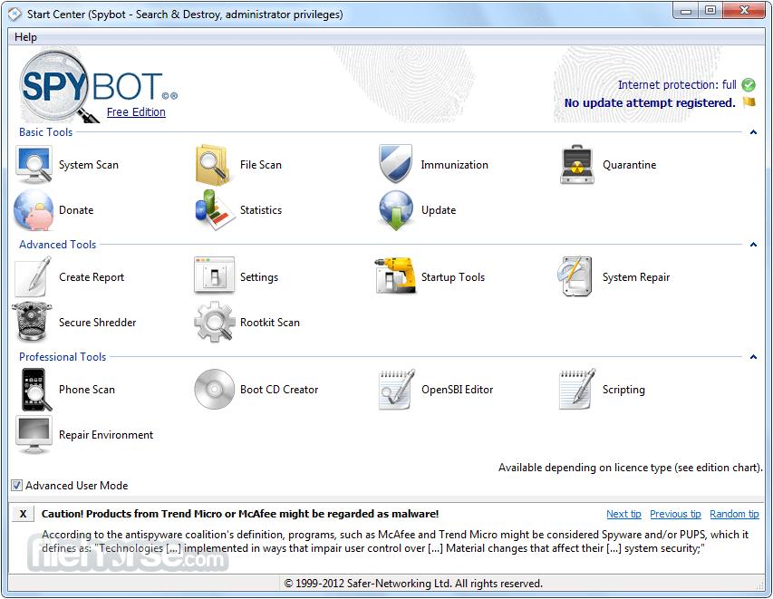 Spybot SearchDestroy Screenshot