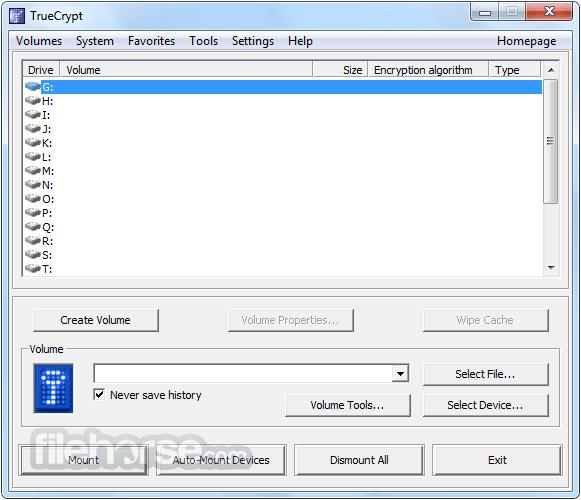 TrueCrypt Screenshot