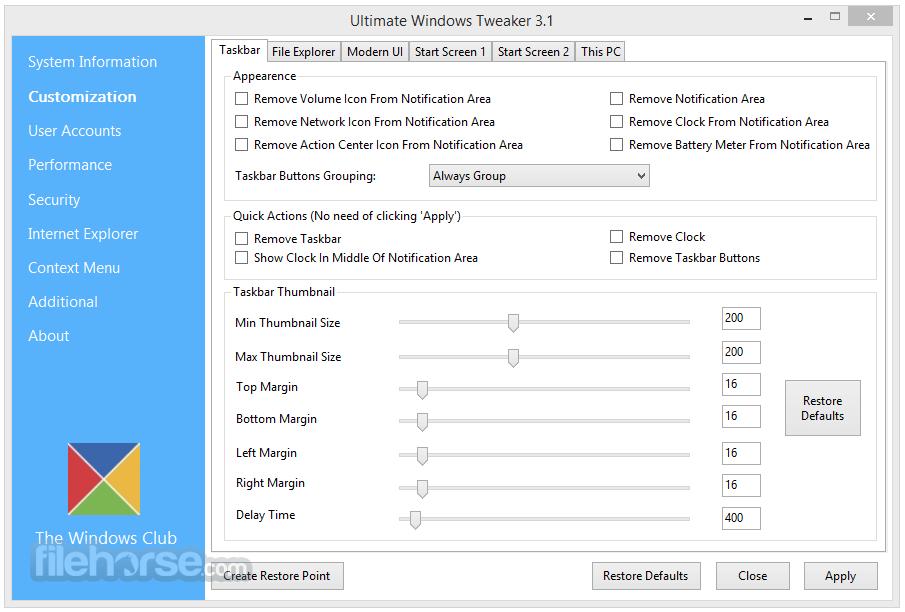 Ultimate Windows Tweaker Screenshot