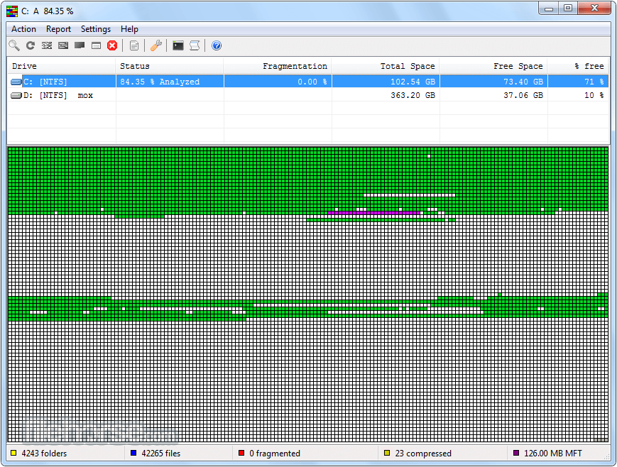 UltraDefrag (32-bit) Screenshot