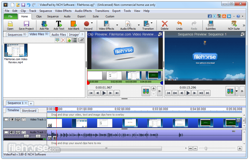 VideoPad Video Editor Screenshot