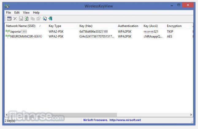 WirelessKeyView (64-bit) Screenshot