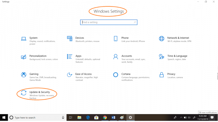 windows settings update security