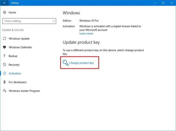 windows 10 change product key